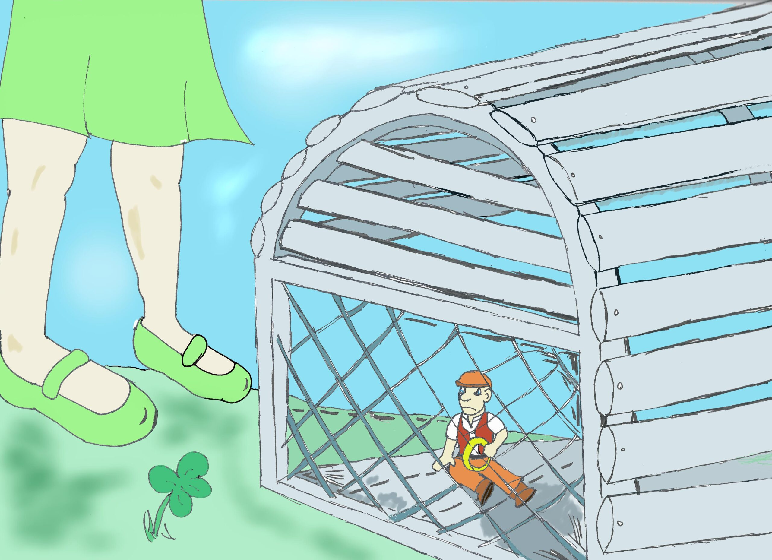 a Leprechaun in a lobster trap